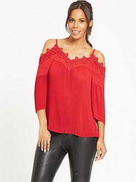 rochelle-humes-lace-panel-pleated-top-red