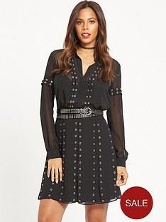 rochelle-humes-eyelet-detail-belted-dress-black