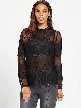 rochelle-humes-lace-with-spot-mesh-blouse-black