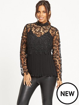 rochelle-humes-guipure-amp-lace-plisse-pleated-top-black