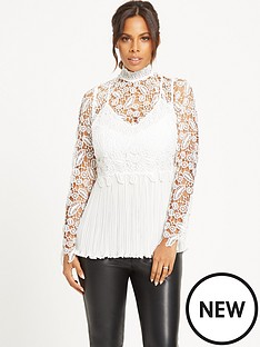 rochelle-humes-guipure-amp-lace-plisse-pleated-top