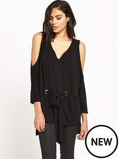 ri-studio-cold-shoulder-belted-top