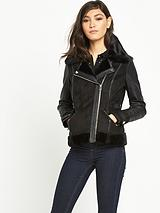 River Island Faux Shearling Bomber Coat
