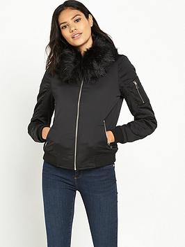 river-island-faux-fur-collar-bomber-jacket