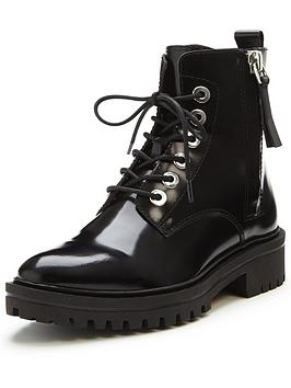Kendall  Kylie Kendall  Kylie Jolanda Polished Lace Up Ankle Boot