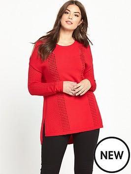 so-fabulous-curve-airtexnbspcold-shoulder-fine-knit-jumper-red