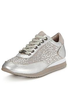 carvela-lemmy-silver-trainer