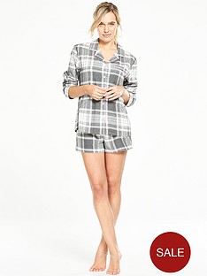 v-by-very-check-button-through-shirt-and-short-pyjama-set
