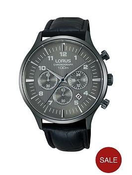 lorus-carbonised-titanium-chronograph-black-leather-strap-mens-watch