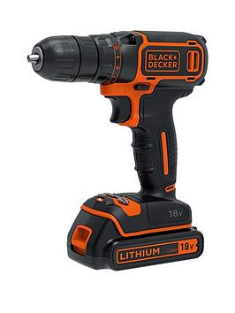black-decker-18v-lithium-ion-2-gear-combi-hammer-drill-with-1-battery-amp-kitbox