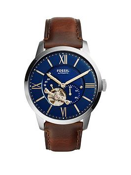 fossil-fossil-mechanical-townsman-blue-dial-tan-leather-strap-mens-watch