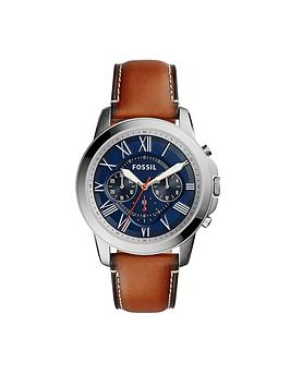 fossil-fossil-grant-navy-dial-leather-tan-leather-strap-mens-watch
