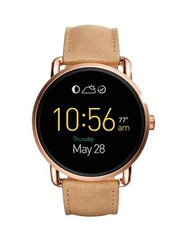 Fossil Q Wander Display Dial Light Tan Leather Strap Smart Watch