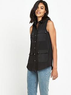 river-island-black-utility-shirt