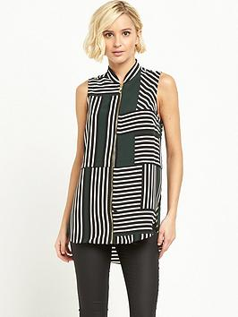 river-island-zip-front-printed-sleeveless-blouse-greennbsp