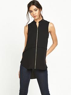 river-island-zip-front-sleeveless-blouse-black