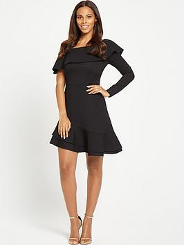 Rochelle Humes Asymmetric One Sleeved Dress  Black