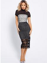 Chiffon Multi Lace Pencil Dress - Black