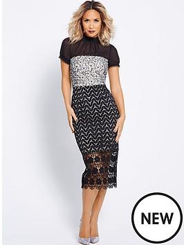 myleene-klass-chiffon-multi-lace-pencil-dress-black