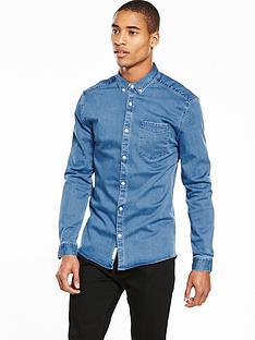 river-island-long-sleeve-muscle-fit-denim-shirt