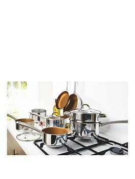 Compare retail prices of 11 Piece Copper Non Stick Stainless Steel Pan Set to get the best deal online