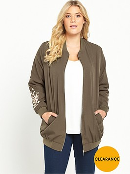 v-by-very-curve-embroidered-sleeve-longline-bomber-jacket-khaki