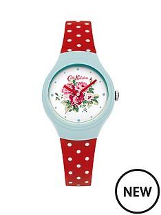 cath-kidston-cath-kidston-spray-flowers-white-floral-printed-dial-red-polka-dot-silicone-strap-ladies-watch