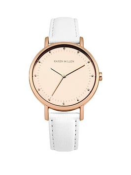 karen-millen-karen-millen-white-sunray-dial-white-leather-strap-ladies-watch