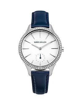 Karen Millen Karen Millen White Dial Dark Blue Leather Strap Ladies Watch