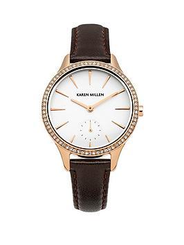 Karen Millen Karen Millen White Dial Dark Brown Leather Strap Ladies Watch