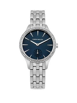 Karen Millen Karen Millen Deep Blue Sunray Dial Stainless Steel Bracelet Ladies Watch