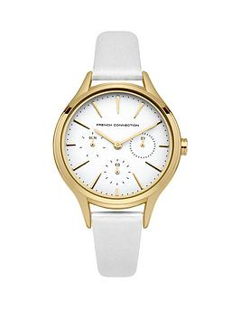 french-connection-french-connection-daisy-grand-white-multifunction-dial-white-leather-strap-ladies-watch