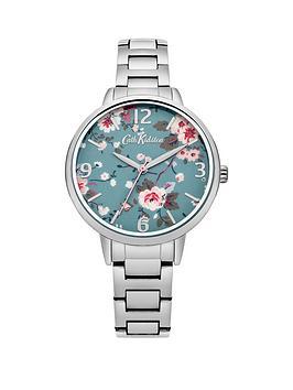 Cath Kidston Cath Kidston Trailing Rose Blue Photo Print Dial Silver Metal Bracelet Ladies Watch