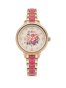 Cath Kidston Cath Kidston Garden Rose Creaem Dial Rose Gold Pinky Red Metal Bracelet Ladies Watch