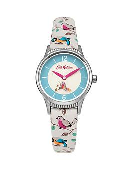 Cath Kidston Cath Kidston Little Birds Rotating Disc White Dial Printed Pu Strap Ladies Watch