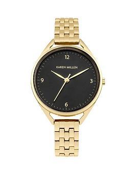 karen-millen-karen-millen-graduated-black-dial-gold-stainless-steel-bracelet-ladies-watch
