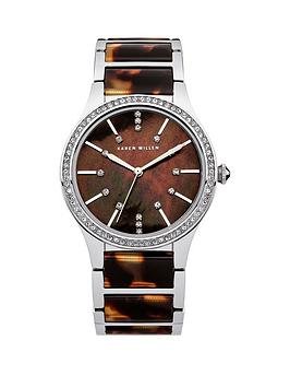 karen-millen-karen-millen-brown-mother-of-pearl-dial-stainless-steel-tortoise-shell-effect-bracelet-ladies-watch