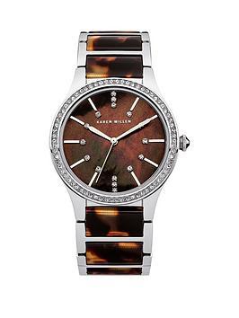 Karen Millen Karen Millen Brown MotherOfPearl Dial Stainless Steel Tortoise Shell Effect Bracelet Ladies Watch