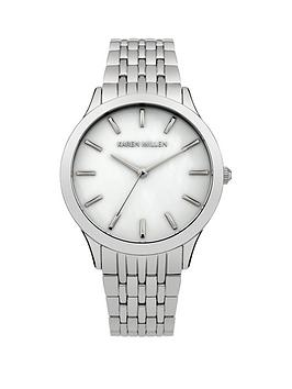 karen-millen-mother-of-pearl-dial-stainless-steel-bracelet-ladies-watch