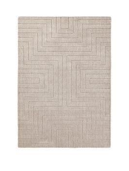 Very Carved Maze Wool Rug Picture