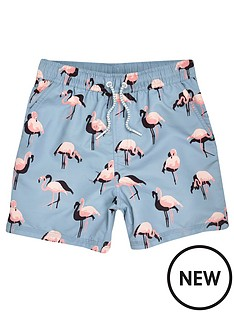 river-island-boys-aqua-flamingo-print-swim-shorts