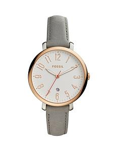 fossil-fossil-perfect-boyfriend-white-dial-chronograph-rose-tone-case-grey-leather-strap-ladies-watch