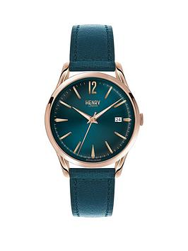 Henry London Henry London Stratford Teal Dial Rose Tone Case Teal Leather Strao Ladies Watch