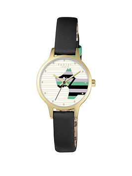 radley-radley-willow-white-striped-dog-dial-black-leather-strap-ladies-watch