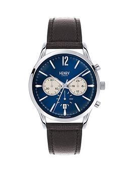 Henry London Henry London Knightsbridge Blue Dial Chronograph Silver Tone Case Black Leather Strap Mens Watch