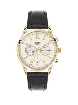 Henry London Henry London Westimister White Dial Chronograph Gold Tone Case Black Leather Strap Mens Watch