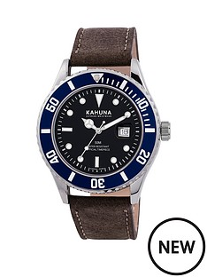 kahuna-kahuna-black-dial-blue-bezel-brown-leather-strap-mens-watch