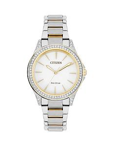 citizen-citizen-eco-drive-white-dial-swarovski-crystal-bezel-two-tone-bracelet-ladies-watch