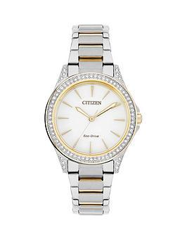 citizen-citizen-eco-drive-white-dial-swarovski-crystal-bezel-two-tone-bracelet-ladies-watch