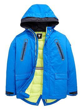 V By Very Boys Double Hood Parka Coat